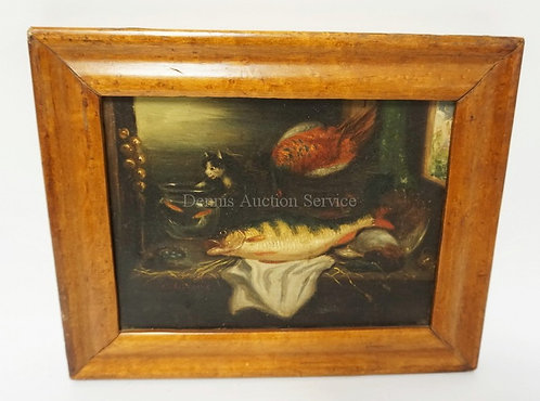 UNUSUAL SMALL OIL ON CANVAS WIT FISH, A CAT ATTACKING A FISH BOWL AND A BIRDS NE