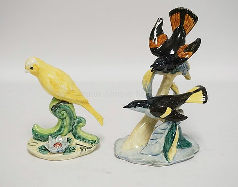 LOT OF 2 STANGL POTTERY BIRD FIGURES. TALLEST IS 9 INCHES.