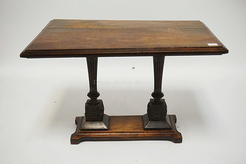 MINIATURE TABLE WITH A CARVED BASE (SOME CARVING MISSING). 18 X 12 INCH TOP. 12