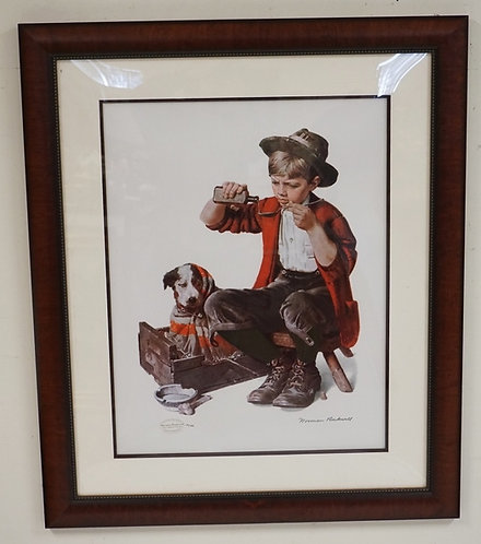 NORMAN ROCKWELL *ESTATE SIGNATURE STAMPED* EDITION #49/750. PRINT OF A BOY POURI