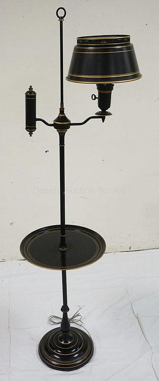 TOLE PAINTED TIN FLOOR LAMP IN BLACK AND GOLD. 57 1/2 INCHES HIGH.