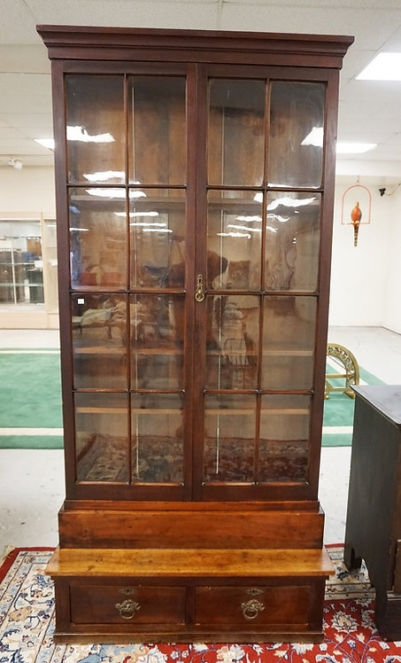 ANTIQUE WALNUT BOOKCASE WITH 16 ORIGINAL INDIVIDUAL GLASS PANES. W DRAWERS BELOW