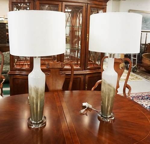PAIR OF MODERN ART GLASS TABLE LAMPS. 33 1/2 INCHES HIGH.
