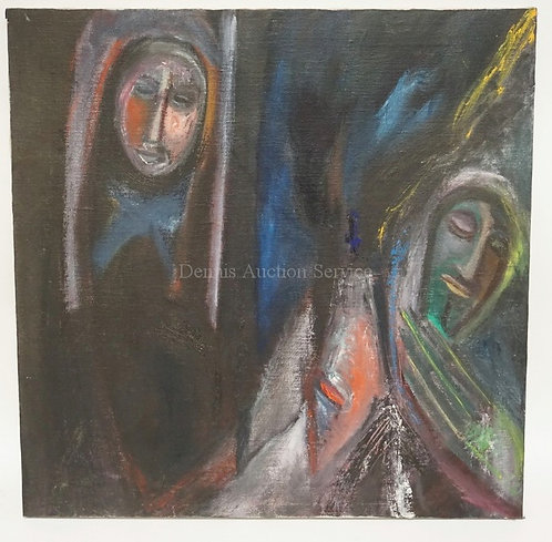 OIL PAINTING ON CANVAS OF 2 FIGUIRES. 24 INCHES SQUARE.