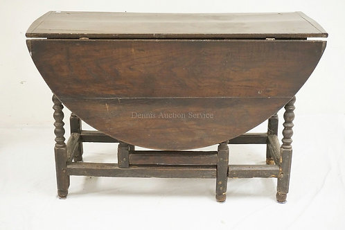 VERY EARLY ANTIQUE PINE GATE LEG DROP LEAF TABLE WITH TURNED LEGS AND BREADBOARD