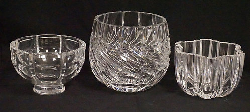 LOT OF 3 HEAVY CRYSTAL BOWLS. FROM LEFT TO RIGHT: ORREFORS, CESKA, AND UNMARKED.