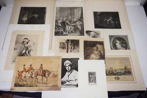 13 PIECE LOT OF ANTIQUE ETCHINGS. LARGEST PLATEMARK MEASURES 10 3/4 X 15 3/8 INC