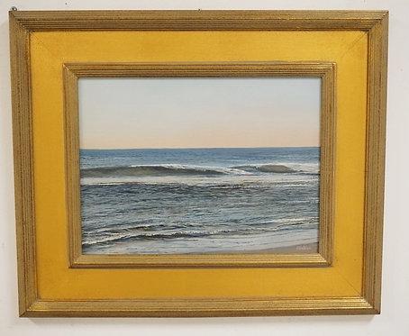 ROBERT HAMBLEN OIL PAINTING ON BOARD OF A SHORE SCENE HAVING *LONG BEACH ISLAND,