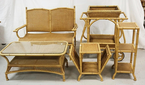 5 PIECES LLOYD LOOM PATIO FURNITURE. GLIDER, 3 TIER STAND, SIDE TABLE WITH MAGAZ