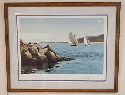 RICHARD FIEDLER GICLEE PRINT TITLED *GREENPORT BREAKWATER*. PENCIL SIGNED AND NU