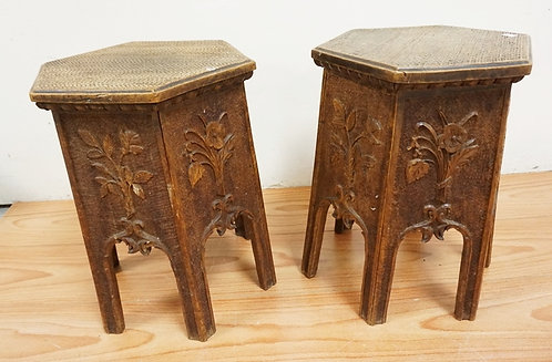 PAIR OF HEXAGONAL TABORETS WITH TOPS CARVED TO SIMULATE WICKER. SIDES ARE FLORAL