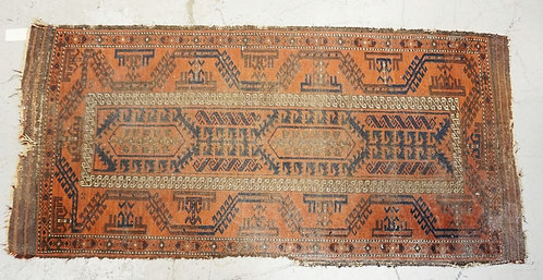 ANTIQUE ORIENTAL THROW RUG MEASURING 6 FT X 2 FT 10 INCHES. HAS LOSSES.