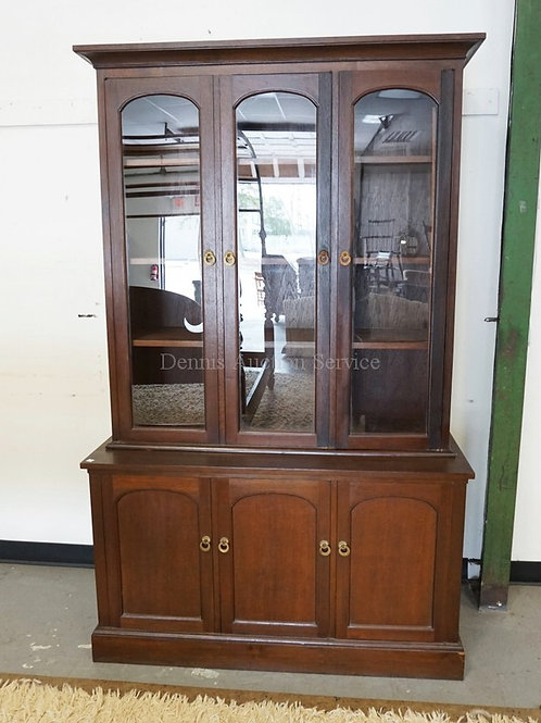 CHINA CABINET WITH 3 GLASS DOORS OVER 3 BLIND DOORS. BY JOHNSON YU FURNITURE. 47