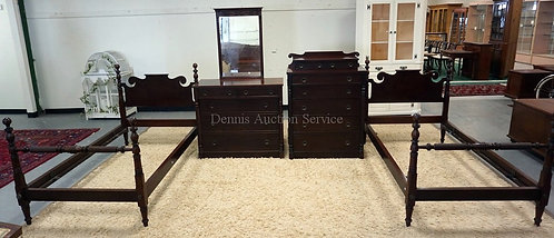 4 PIECE MAHOGANY BEDROOM SET INCLDUING 2 TWIN BEDS, HIGH CHEST, AND A LOW CHEST