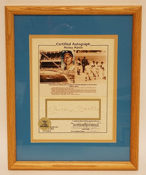 MICKEY MANTLE CERTIFIED AUTOGRAPH. FRAMED AND DOUBLE MATTED. 12 1/2 X 15 1/2 INC