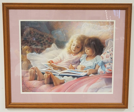 GREG OLSEN PRINT OF TWO GIRLS READING A BOOK. SIGNED LIMITED EDITION #294/1500.