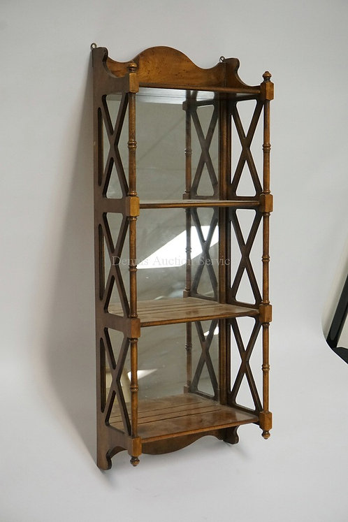 WALNUT 4 TIER HANGING SHELF WITH A MIRRORED BACK, TURNED COLUMNS, AND OPENWORK S