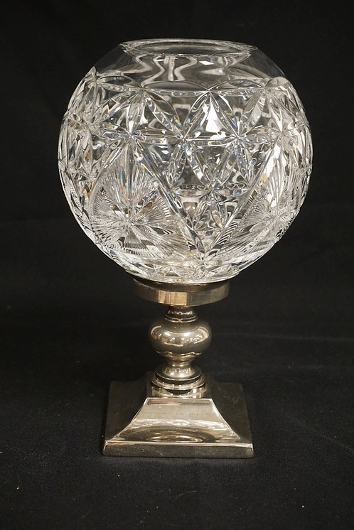 WATERFORD CANDLE STICK HAVING A SILVER PLATED BASE AND A CUT CRYSTAL BALL FORM S
