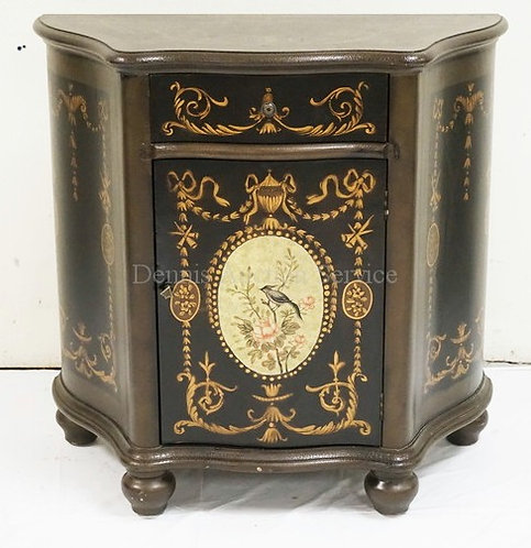 STENCIL DECORATED CONSOLE CABINET WITH ONE DRAWER OVER ONE DOOR. 33 INCHES WIDE.