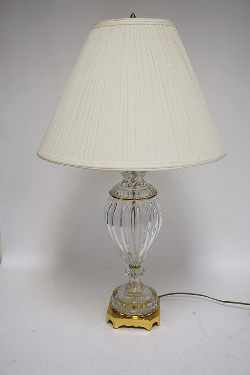 HEAVY CRYSTAL AND BRASS LAMP. 31 INCHES HIGH.