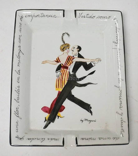 PORCELAIN ASHTRAY WITH HAND PAINTED D�COR OF A DANCING COUPLE BY *MAGARI*. 6 1/2