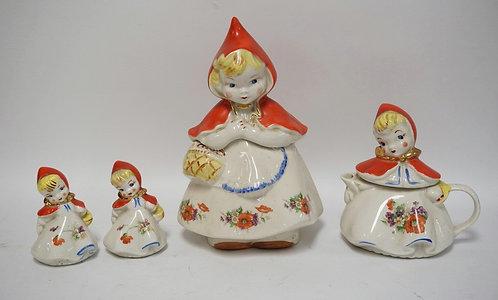 4 PIECE LITTLE RED RIDING HOOD COOKIE JAR, TEAPOT, SALT & PEPPER SHAKERS. TALLES