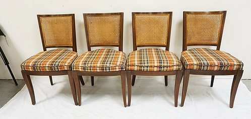 SET OF 4 JOHN STUART MID CENTURY MODERN CHAIRS WITH PLAID UPHOLSTERED SEATS AND