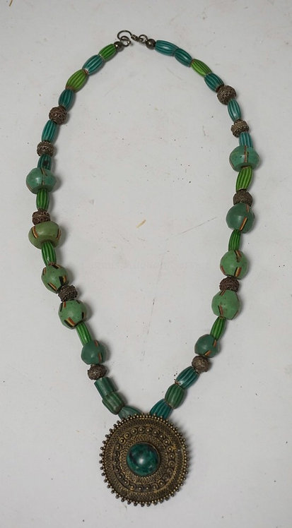 GREEN STRIATED BEAD NECKLACE WITH ORNATE SILVER COLORED BEADS AND AN ISRAELI STE