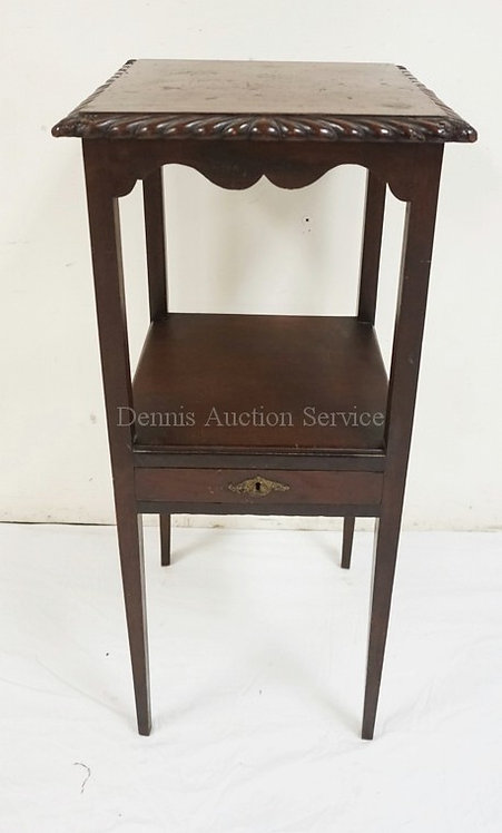 ANTIQUE MAHOGANY WASHSTAND. TOP HAS BEEN ADDED THAT COVERS THE ORIGINAL CUT OUT