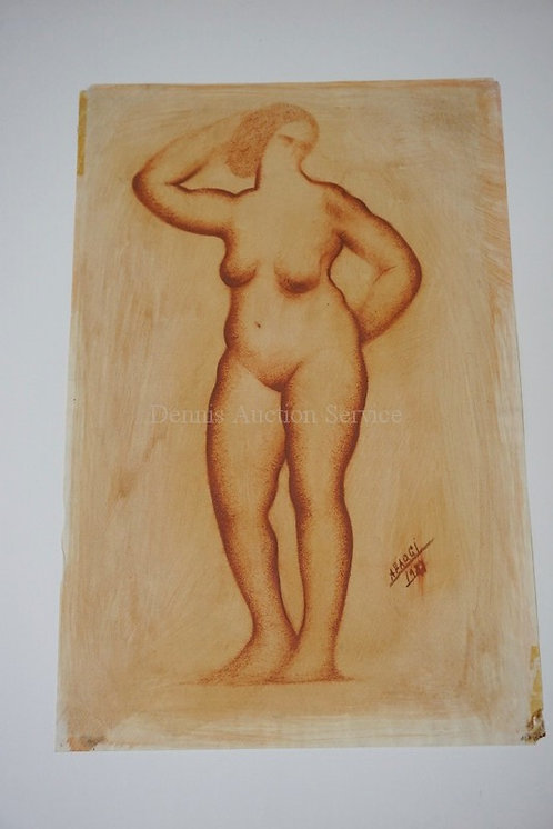 ALFEO FAGGI CONTE CRAYON DRAWING OF A STANDING FEMALE NUDE. SIGNED AND DATED. 11