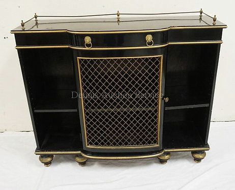 EBONIZED CREDENZA WITH A WIRE SCREEN DOOR, A BRASS GALLERY, AND BRASS LION PULLS