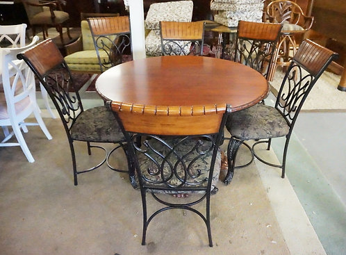 ROUND TABLE WITH 6 CHAIRS. ORNATE METALWORK. OAK TABLE TOP. 48 INCH DIA.