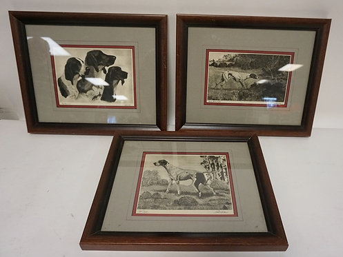 GROUP OF 3 BERT COBB DOG PRINTS. DOUBLE MATTED AND IN MATCHING FRAMES. LARGEST I