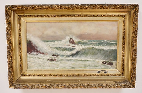 OIL PAINTING PON BOARD OF WAVES CRASHING ON A ROCKY SHORELINE. GOLD GILT FRAME H