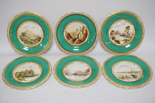 SET OF 6 ANTIQUE AND BEAUTIFULLY HAND PAINTED PLATES. EACH WITH A DIFFERENT EURO