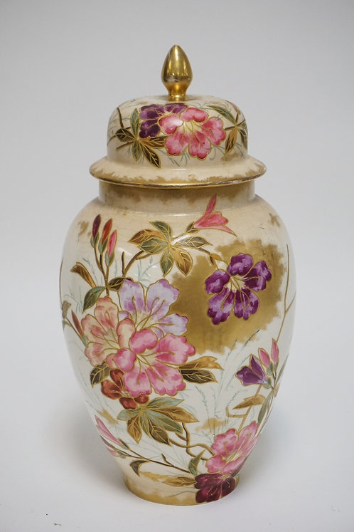 ROYAL BONN HAND PAINTED URN W/LID. HAS CRAZING & STAINING. 15 INCHES HIGH.