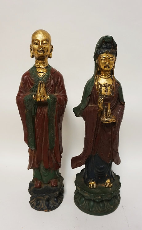 PAIR OF CAST IRON ASIAN FIGURES, PAINTED AND GILT. BOTH HAVE BASE CHIPS. TALLEST