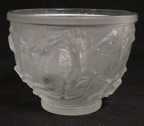 FROSTED ART GLASS BOWL WITH HORSES IN RELIEF ENCIRCLING THE BODY. 6 INCHES HIGH.