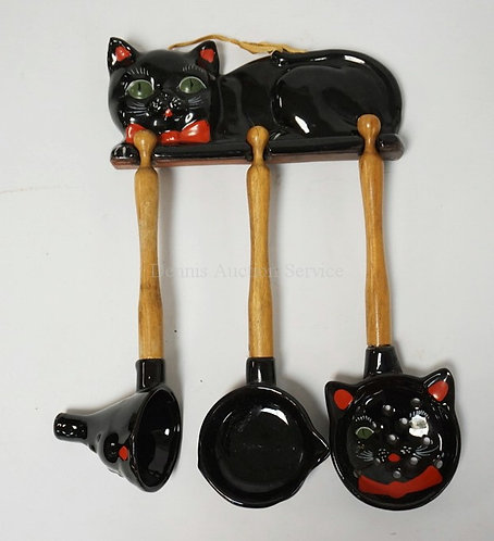 SHAFFORD BLACK CAT UNTENSIL RACK WITH HANGING FUNNEL, PIERCED SPOON, AND LADLE W