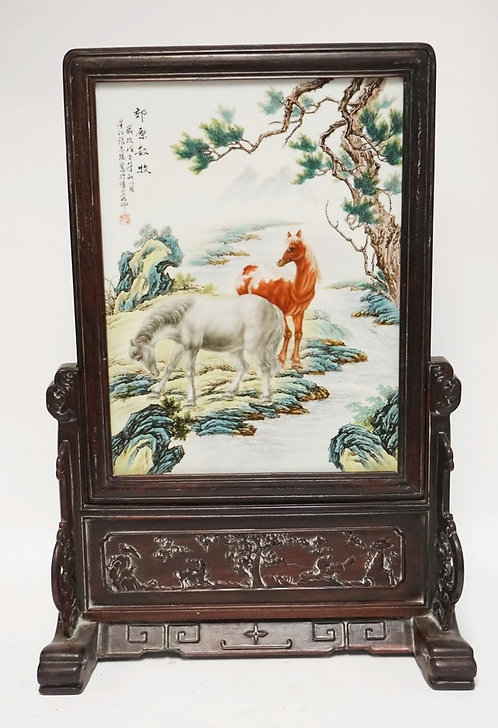 HAND PAINTED ASIAN PORCELAIN PANEL DEPICTING HORSES BY A STREAM WITH TREES. HARD