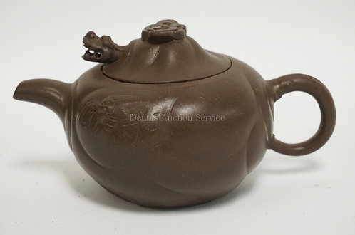 ASIAN BROWN POTTERY TEAPOT. 4 INCHES HIGH.