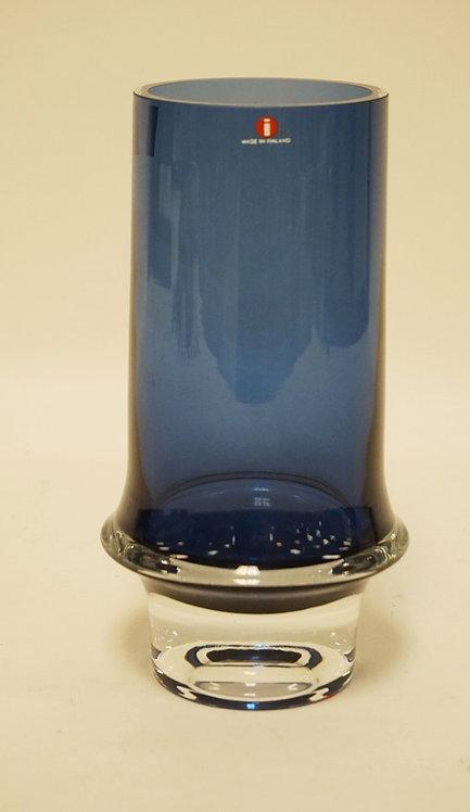 TAPIO WIRKKALA FINNISH ART GLASS VASE IN BLUE & CLEAR. 8 INCHES HIGH.