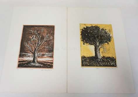 PETER PASSUNTINO, 2 PRINTS TITLED WINTER AND AUTUMN. BOTH PENCIL SIGNED AND NUMB