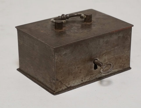 ANTIQUE STEEL CASH BOX WITH KEY. 5 1/2 X 3 7/8 AND 2 3/4 INCHES HIGH.