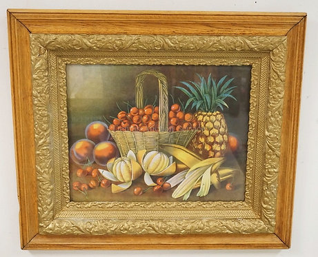 VICTORIAN LE ROY LITHOGRAPH OF FRUIT IN AN OAK AND GOLD GILT FRAME. 30 1/4 X 26