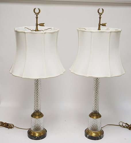 PAIR OF BRASS & CRYSTAL LAMPS WITH SILK SHADES. 38 3/4 INCHES HIGH.