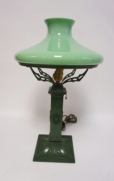 TABLE LAMP WITH GREEN PATINATED METAL BASE AND A CASED LIGHT GREEN SHADE. CHIP O