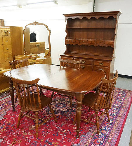 ETHAN ALLEN 6 PC. BLACK CHERRY DINING SET. HUTCH, 4 CHAIRS AND TABLE WITH 2 LEAV