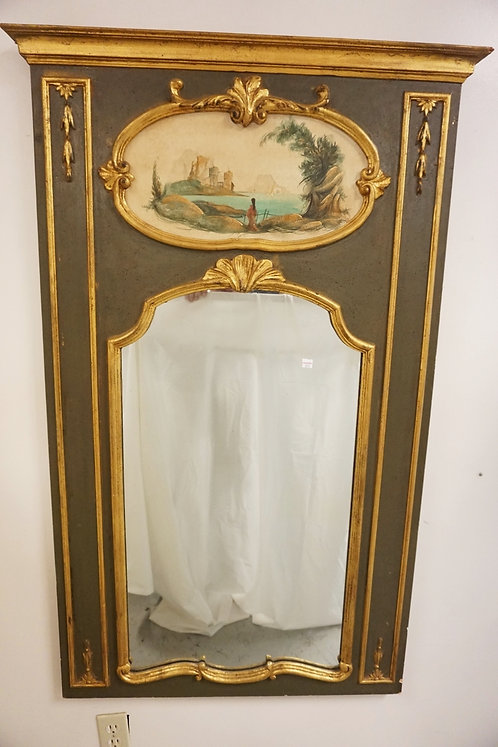 TRUMEAU MIRROR WITH GILT TRIM. OVERALL DIMENSIONS 33 1/4 IN X 52 1/2 IN