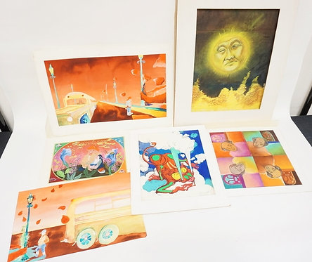 1118_LOT OF 6 GOUACHE PAINTINGS BY *ALLEMAN*. ONE IS SIGNED. LARGEST IS 19 X 11